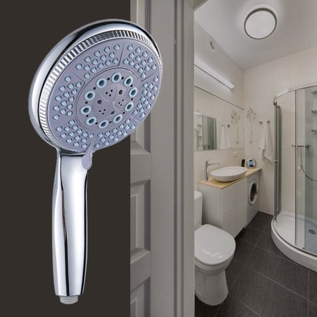 Shower Head in Chrome, Universal 5 Mode Function Anti-limescale Large Bath Handset Shower Head