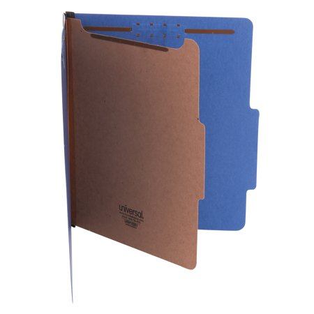 Universal Pressboard Classification Folders, Letter, Four-Section, Cobalt Blue, 10/Box -UNV10201
