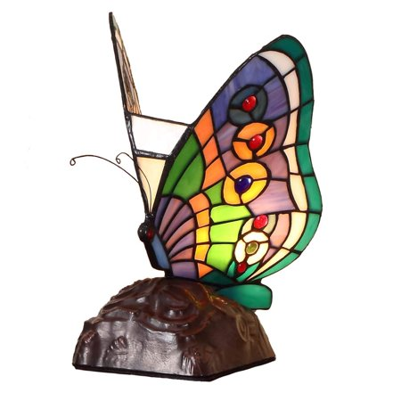 Bieye L10652 10 inches Butterfly Tiffany Style Stained Glass Accent Table Lamp, Night Light ()