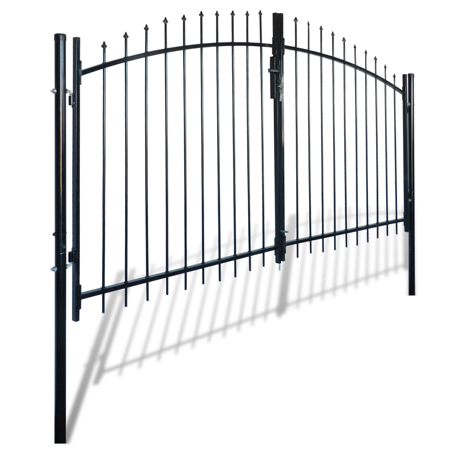 Outdoor Fence Double Door Gate with Spear Top 10' x 5'