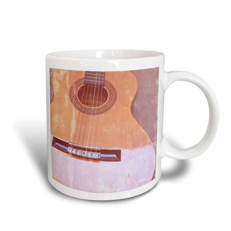 3dRose Vintage Shiny Guitar Music, Ceramic Mug, 11-ounce