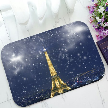 PHFZK City Landmark Doormat, France Paris Eiffel Tower with Snowflakes Doormat Outdoors/Indoor Doormat Home Floor Mats Rugs Size 23.6x15.7 inches