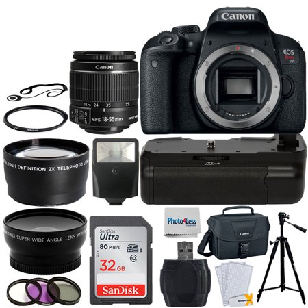 Canon 800D / T7i SLR Camera +18-55mm STM 32GB Top Battery Grip Bundle
