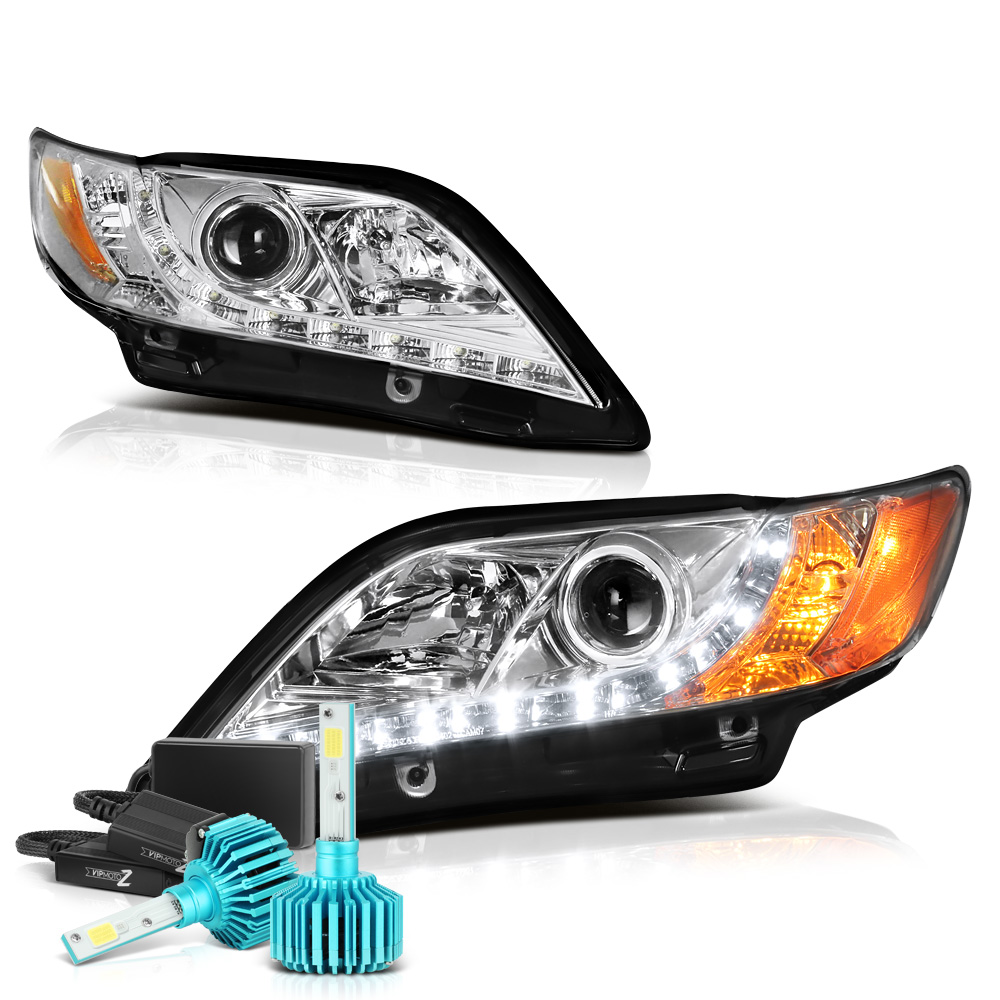 [For 2007-2009 Toyota Camry] LED Strip Projector Headlight Headlamp Assembly, Driver & Passenger Side