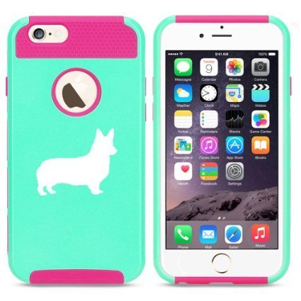 Apple iPhone 6 Plus / 6s Plus Hybrid Shockproof Impact Hard Cover / Soft Silicone Rubber Inside Case Corgi Dog (Light Blue-Hot Pink),MIP