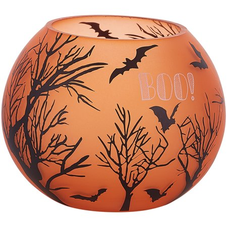 Pavilion - Orange Halloween Themed Glass 5 Inch Round Tealight Candle (Two's Company Halloween Candles)