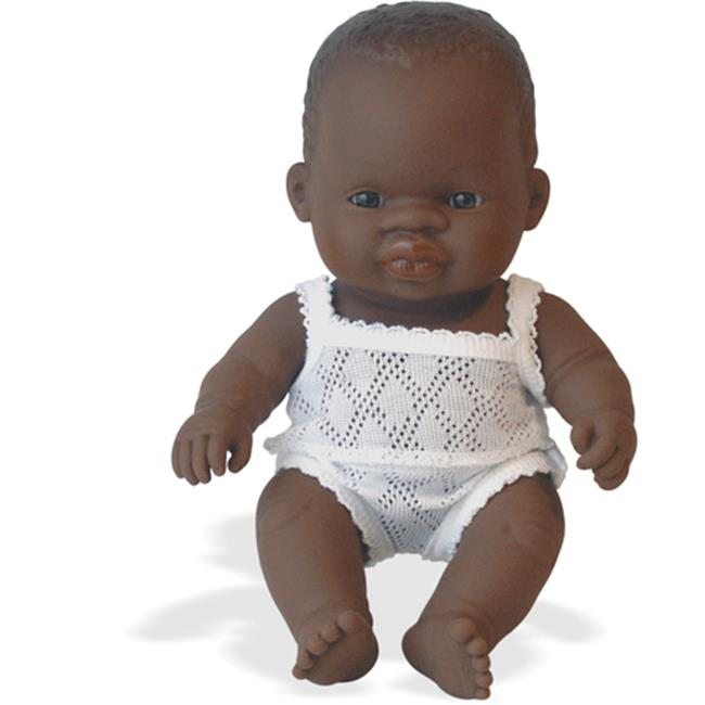 Miniland Educational 31124 New born baby doll african girl- 21cm- 8 .2 in.Case