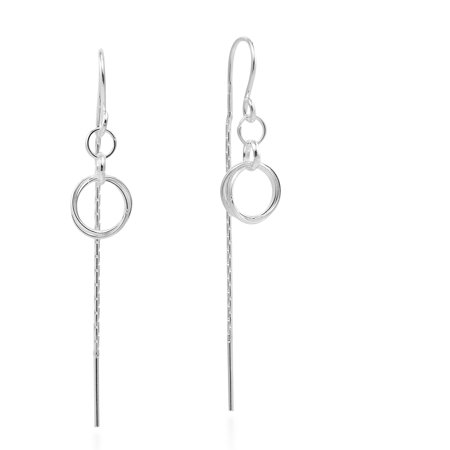 925 Sterling Silver Ear Threads - Chic Double Circle Loop Link Ear Thread Slide .925 Sterling Silver Dangle Earrings