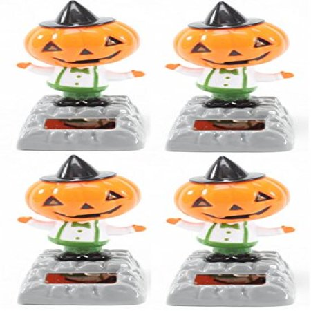 Dance Halloween Pumpkin (Set of 4~ Dancing Pumpkin with Hat Solar Toys Halloween Nightmare Party Home Decor Gift US)