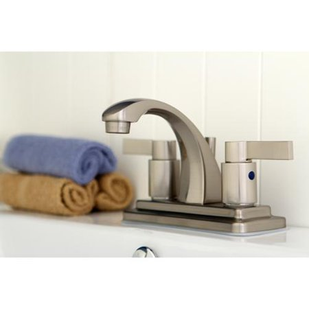 Kingston Brass Nuvo Fusion Satin Nickel 4 Inch Center Bathroom Faucet