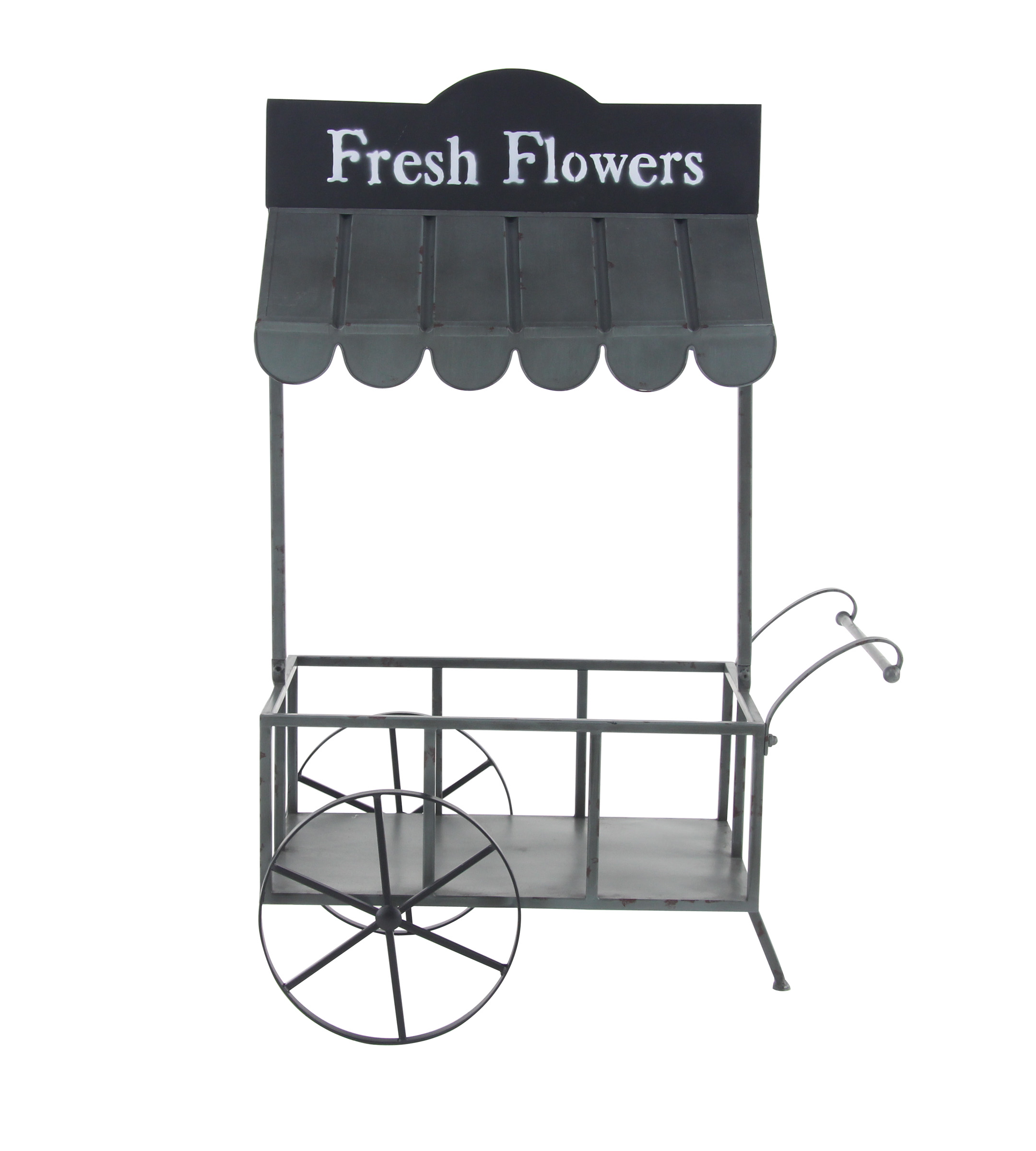 Decmode Farmhouse 44 X 32 Inch Black Iron Flower Cart With