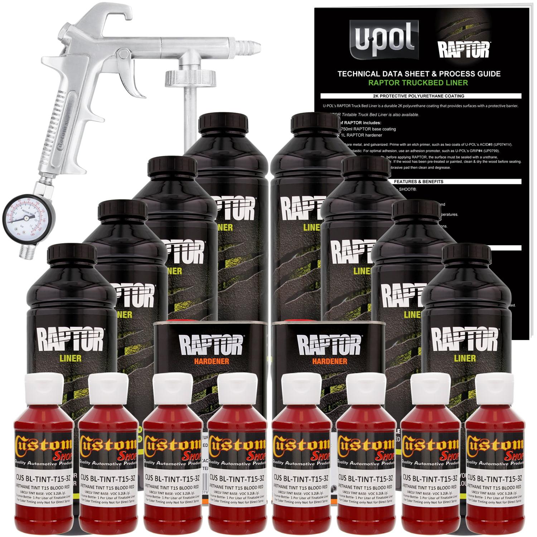 U-POL Raptor Blood Red Urethane Spray-On Truck Bed Liner Kit w/ FREE Custom Coat Spray Gun with Regulator, 8 Liters