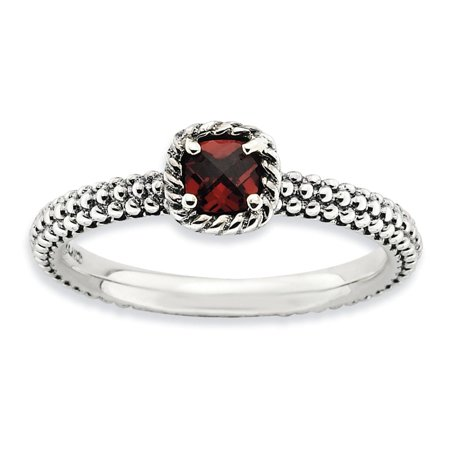 Sterling Silver Antiqued Finish Checkered Cut Garnet Stackable Ring Size 9