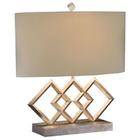 Table Lamp JOHN-RICHARD 3 Diamond on the Bias Oval Silver Leaf Misty Cre JR-2295