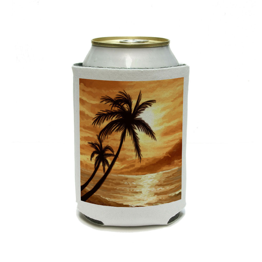 Sunset Beach Palm Tree - Hawaii Paradise Orange Can Cooler Drink Insulator Beverage Insulated Holder