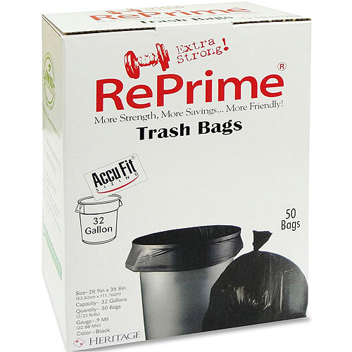 RePrime Accufit Trash Bags, Black, 32 gal, 50 count
