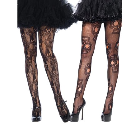 Fishnet Sugar Skull Day of The Dead Pantyhose Hosiery Tights for Halloween Costumes for $<!---->