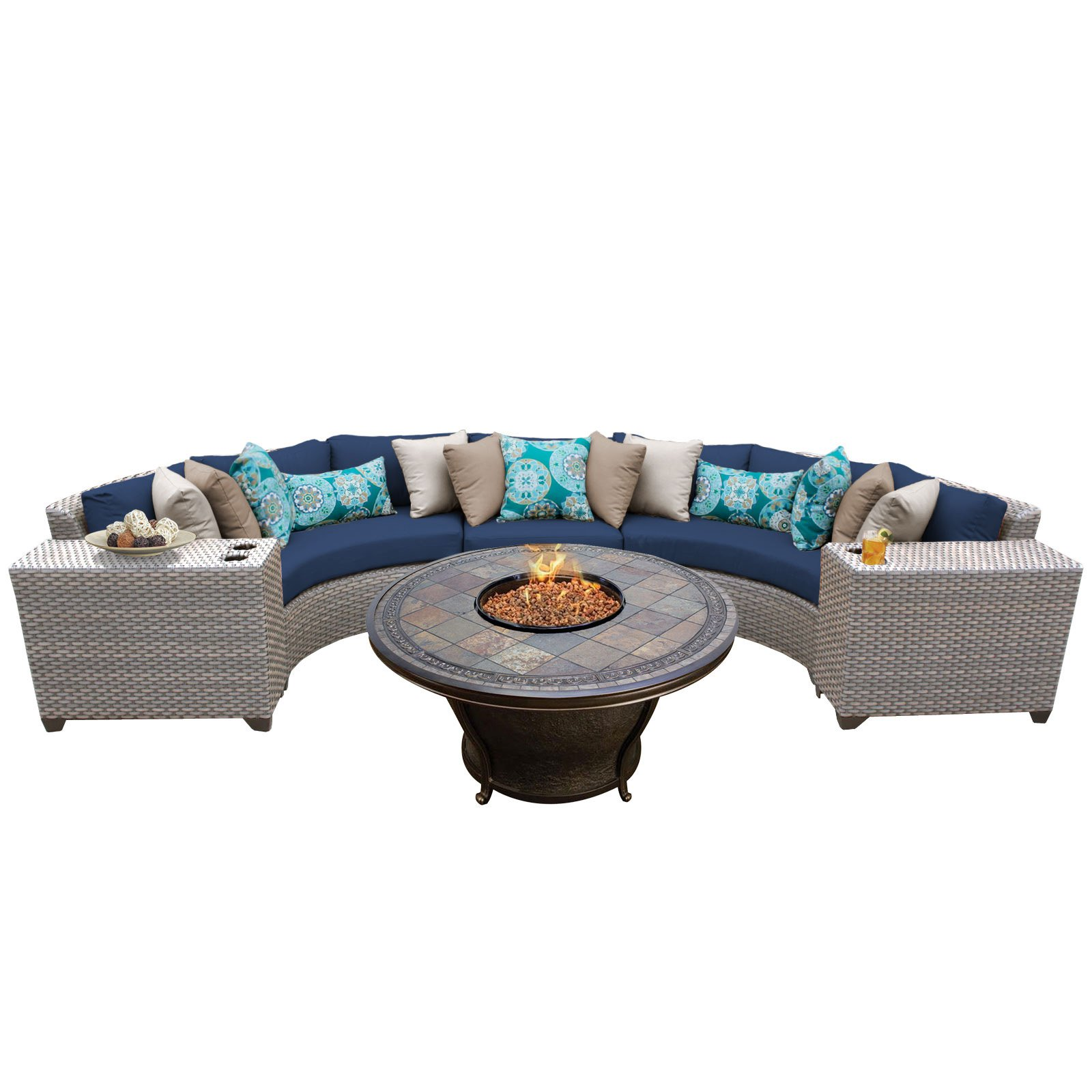 TK Classics Florence Wicker Patio Set with Tempe Fire Pit Table
