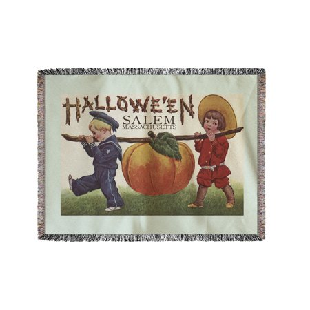 Salem, Massachusetts - Halloween Kids & Pumpkin - Vintage Postcard (60x80 Woven Chenille Yarn Blanket) - Post Halloween Pumpkin