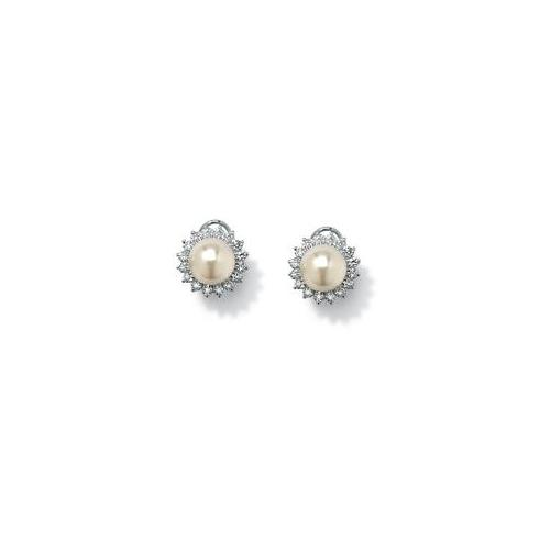 PalmBeach Jewelry 36512 1. 06 TCW Cubic Zirconia and Simulated Pearl Sterling Silver Button Earrings