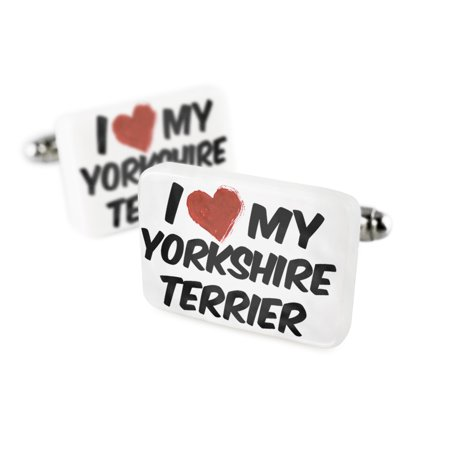 Cufflinks I Love my Yorkshire Terrier Dog from EnglandPorcelain Ceramic NEONBLOND