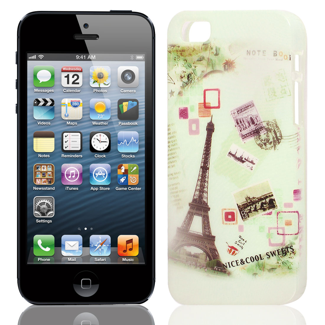 Eiffel Tower Pattern Soft TPU Skin Case Cover Beige for Apple iPhone 5 5G 5S