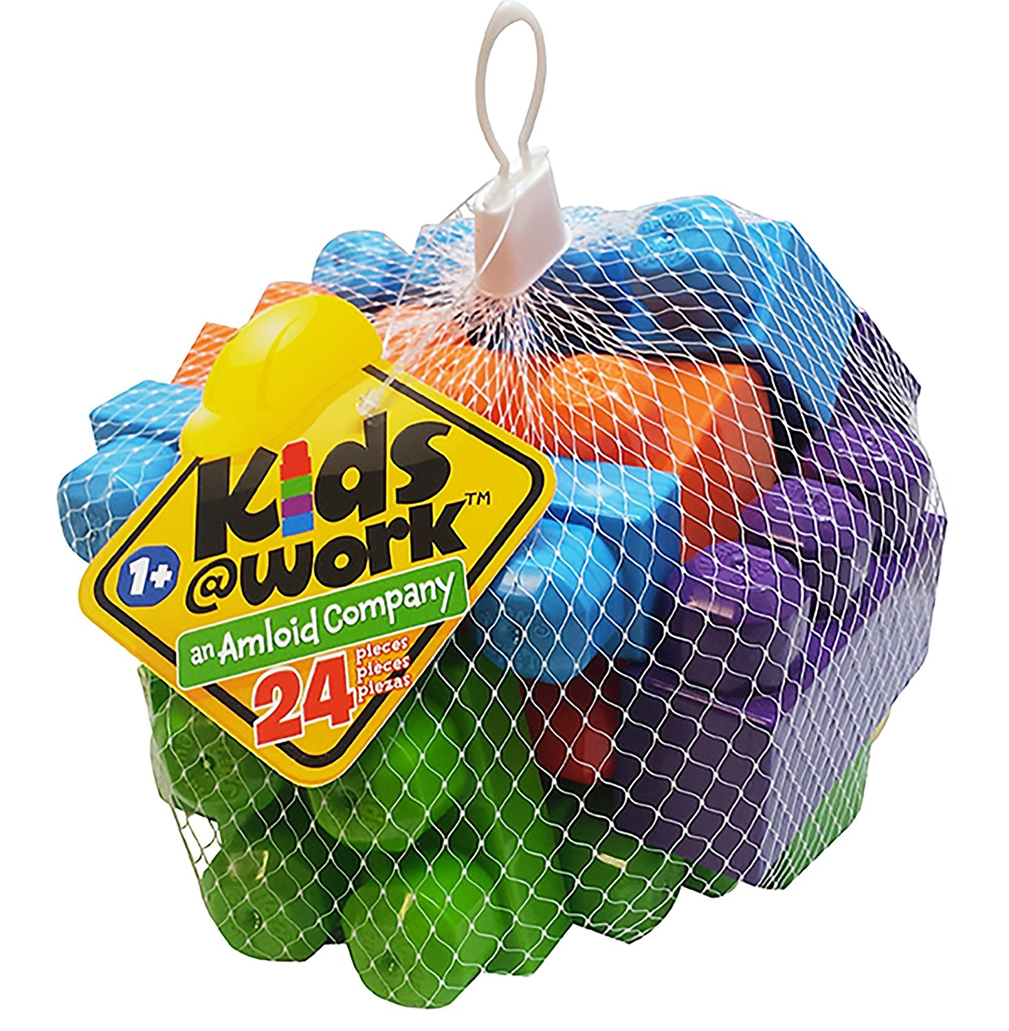 Kids at Work Block Set, Netted, 24-Piece, Plastic blocks to assemble; Made in bright colors By Amloid