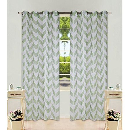 2 Panel Chevron Sage Green Two-Tone Pattern Design Voile Sheer Window Curtain 8 Silver Grommets 55