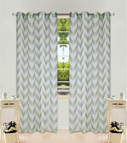 "2 Panel Chevron Sage Green Two-Tone Pattern Design Voile Sheer Window Curtain 8 Silver Grommets 55"" W X 95"""
