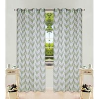 """1 Panel Chevron Sage Green Two-Tone Pattern Design Voile Sheer Window Curtain 8 Silver Grommets 55"""" W X 108"""""""