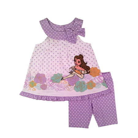 Disney Toddler Girls Bell Beauty & The Beast Outfit Purple White Top Shorts (Custom Disney Outfits)