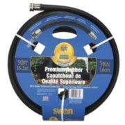 "Heavy Duty Premium Rubber Garden Hose, 5/8"" X 50', With Standard Water Threads, Reinforced"