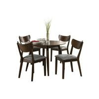 Hillsdale San Marino 5 Piece Mid-Mod Round Wood Dining Set, Chestnut