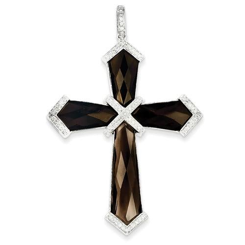14k White Gold Diamond & Smokey Quartz Cross Pendant. Carat Wt- 19.85ct