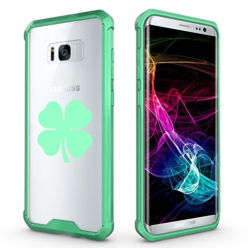 For Samsung Galaxy Clear Shockproof Bumper Case Hard Cover 4 Leaf Clover (Mint For Samsung Galaxy S8)