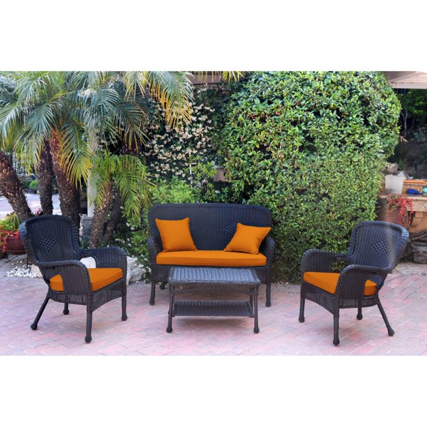 Jeco Windsor Resin Wicker 4 Piece Patio Conversation Set