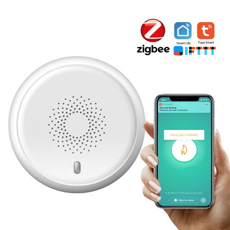 ZigBee Tuya Gas Detector Household Combustible Gas Natural CH4 Leak Detector Natural Liquefied Petroleum Gas Leak Tester Sniffer with Sound Alarm APP Notification Pushing SmartLife Tuya APP Remote Con