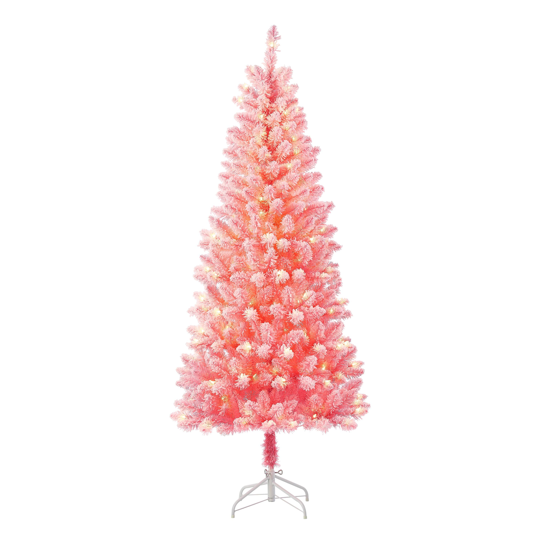 Holiday Time Pre Lit Pink Flocked Pine Artificial Christmas Tree Clear Lights Pink 6 5 Walmart Com Walmart Com