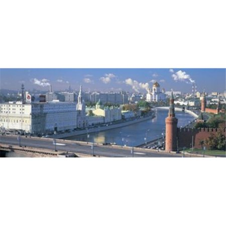 Buildings at the waterfront  Moskva River  Moscow  Russia Poster Print by  - 36 x 12 - image 1 de 1