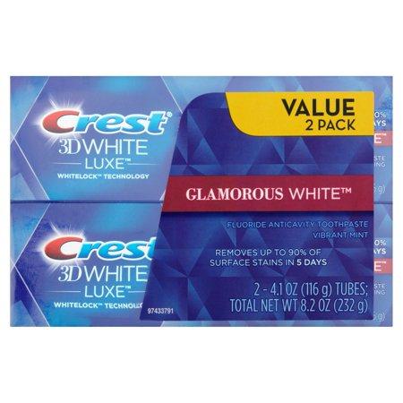 Blanc 3D Luxe Glamorous Vibrant White Mint saveur Dentifrice blanchissant 41 oz 2 count