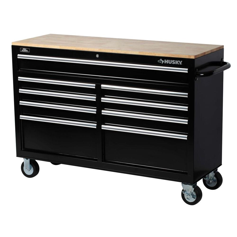 Husky 52 in Tool Chest Box 9-Drawer Rolling Toolbox Storage ...