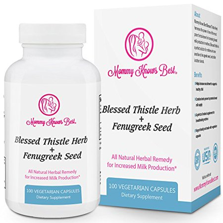 Mommy Knows Best Fenugreek and Blessed Thistle Lactation Aid Support Supplement for Breastfeeding