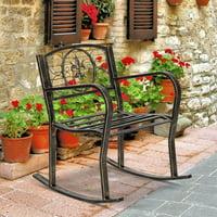 URHOMEPRO Patio Metal Rocking Chair, Indoor Outdoor Garden Single Seating Iron Art Chair, Paint Brush Gold Iron Art Rocking Chair, Rocking Chairs for Porch, Rocker, Lawn Garden Rocking Chair, W10628