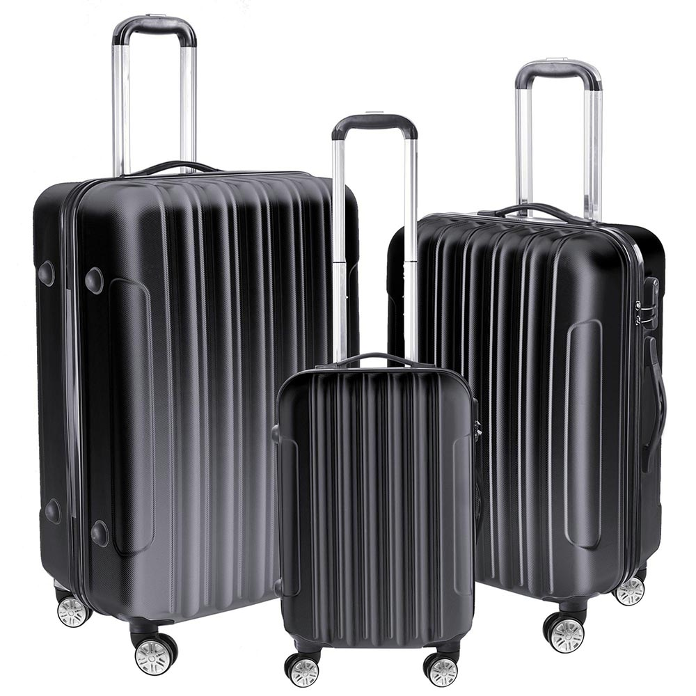"AW 3 Piece Luggage Set 20"" 24"" 28"" Rolling Travel Case 4 Wheels Spinner Suitcase Lightweight Lockable ABS"