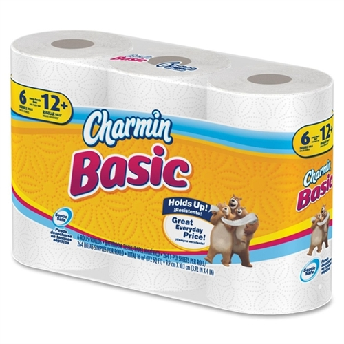 Charmin Basic Big Roll Toilet Paper - 1 Ply - 308 Sheets/pack - 6 / Pack - White (85982PK)