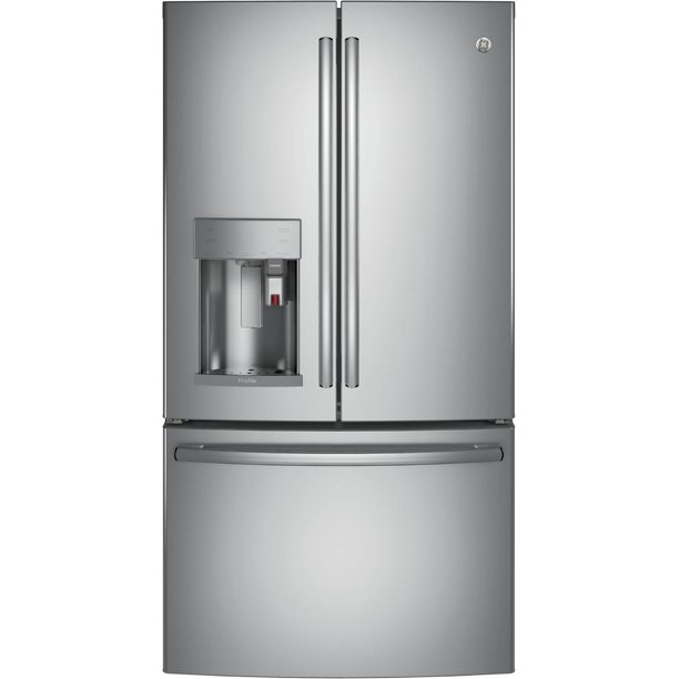 PYE22PSKSS 36 Energy Star ADA Compliant Counter Depth French Door Refrigerator with 22.2 cu. ft. Capacity Keurig K-cup Brewing System Hot Water Scheduling and TwinChill Evaporators: Stainless Steel