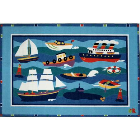 "Fun Rugs Olive Kids Boats & Bouys 19"" x 29"" Rug"