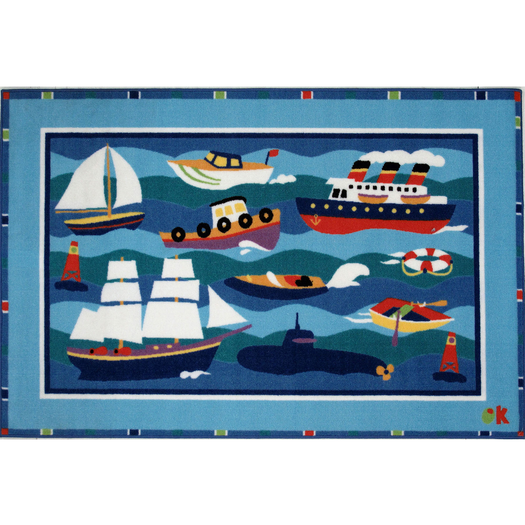 "Fun Rugs Olive Kids Boats & Bouys 19"" x 29"" Rug"