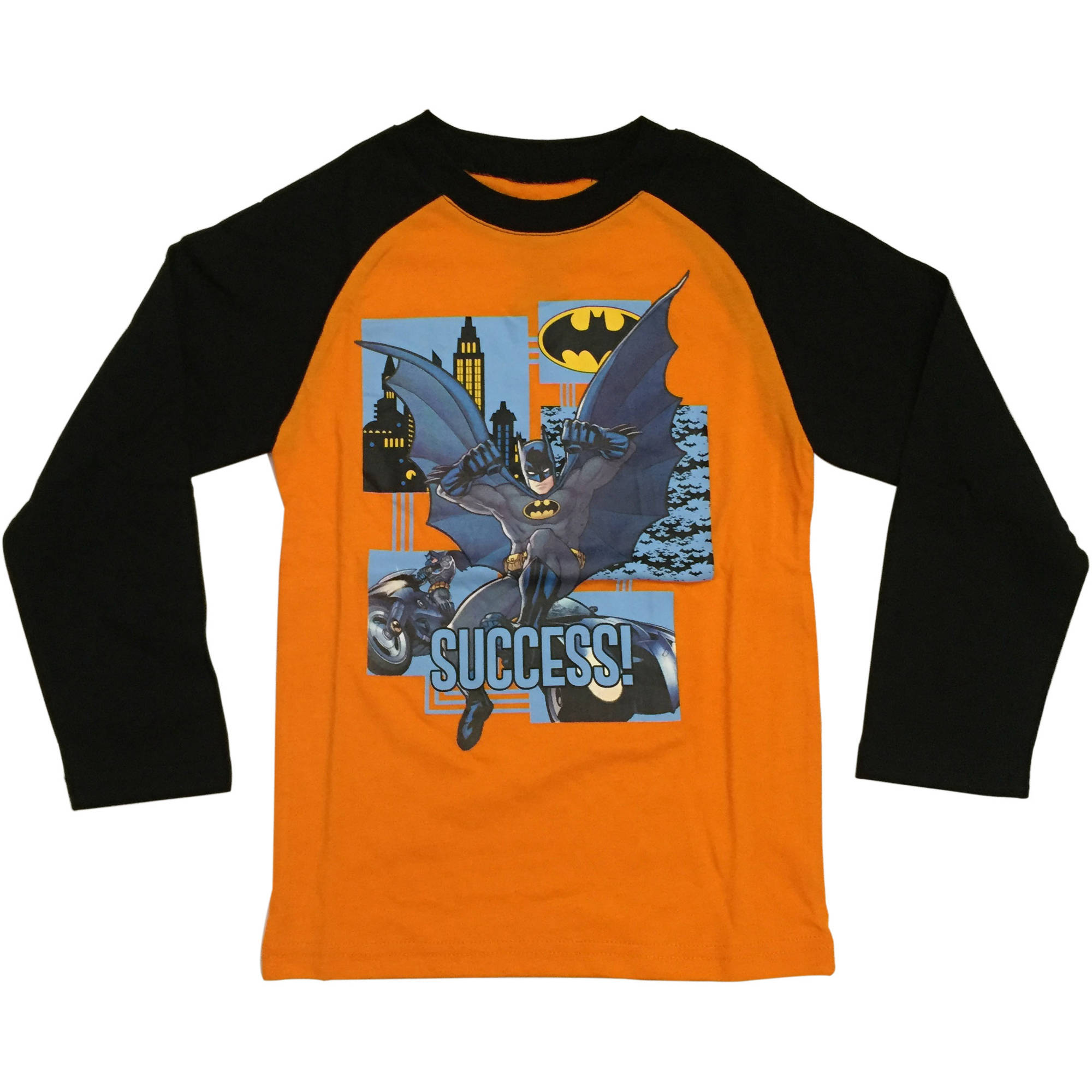 DC Comics Batman Boys Character Fashion Long Sleeve Raglan Graphic Tee