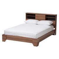 Baxton Studio Vanda Modern And Contemporary Two tone Walnut And Black Wood Queen Size Platform Bed
